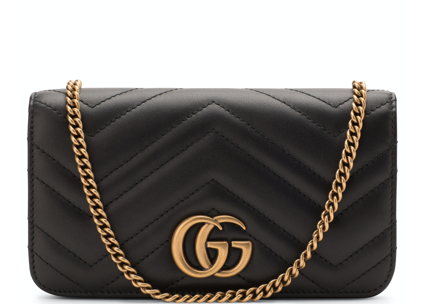 2dd7c975ae47 Gucci GG Marmont Crossbody Chain Wallet Matelasse Black. Matelasse Black