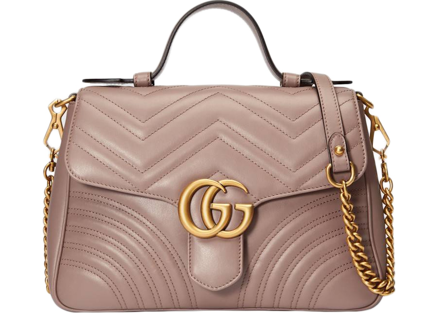 5191995144308 Gucci GG Marmont Top Handle Chevron Small Dusty PInk. Chevron Small Dusty  PInk