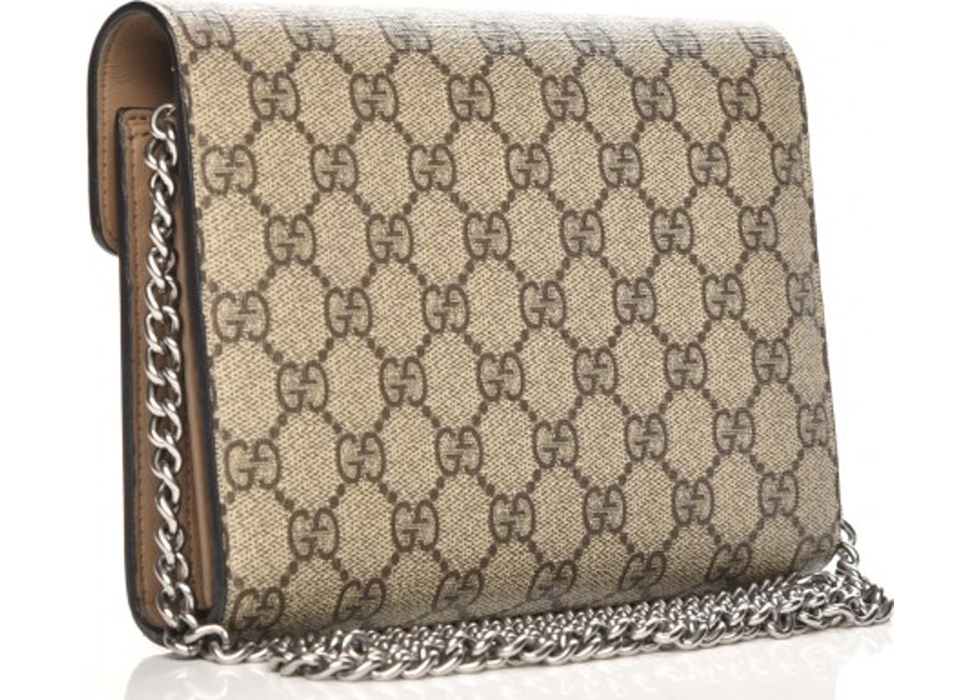 3bfb4494f527 Gucci Chain Wallet Dionysus Gg Supreme Beige Canvas Cross Body Bag
