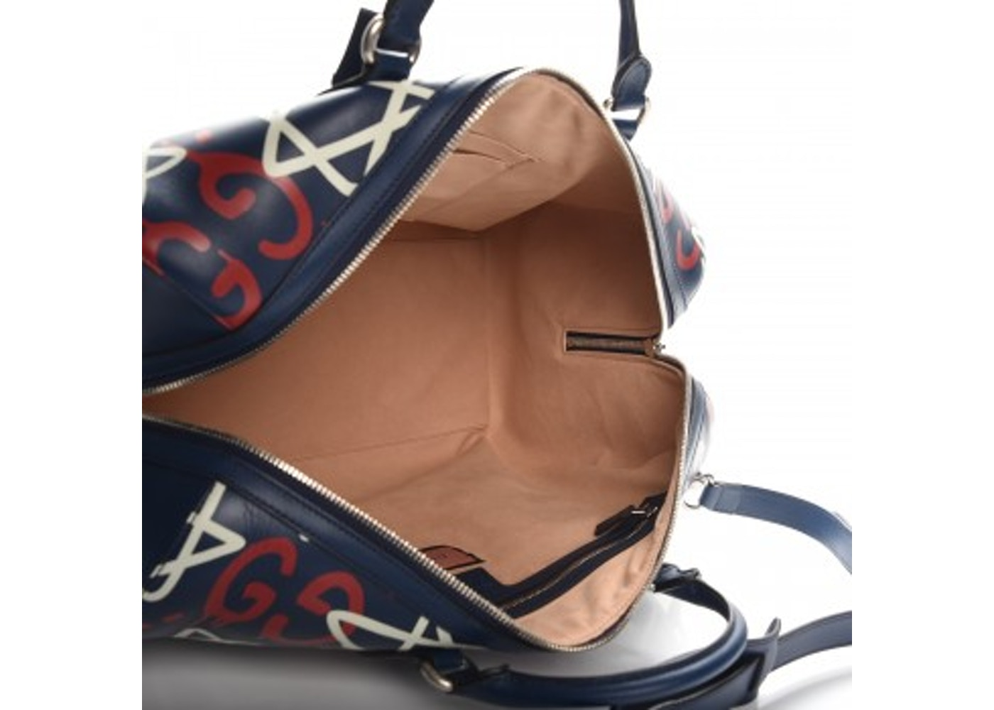 b7bd4d9c1e58 Gucci GucciGhost Duffle Bag GG Graffiti Print Overlay Navy Blue/Red/White