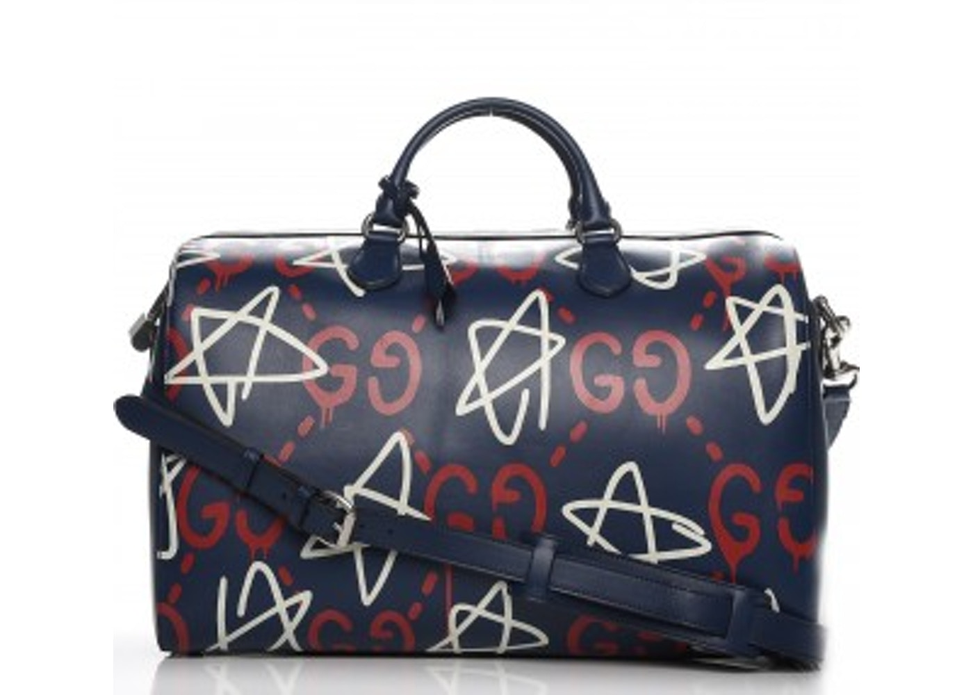 Gucci GucciGhost Duffle Bag GG Graffiti Print Overlay Navy Blue Red White 75e8c2cc131