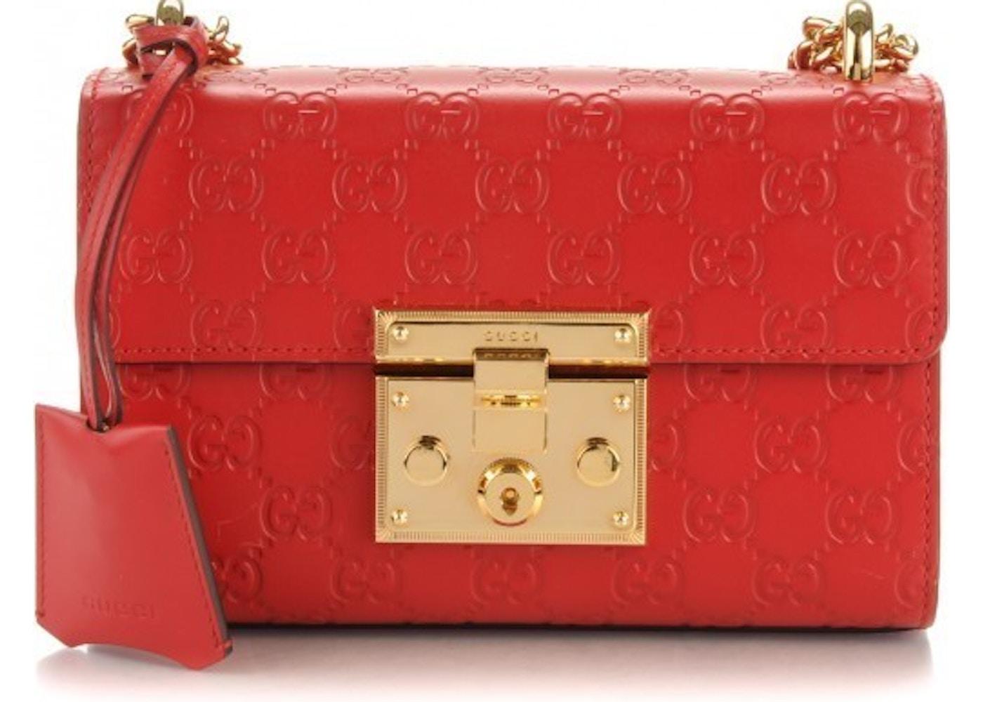 0ec01a9ea5c9b1 Sell. or Ask. View All Bids. Gucci Padlock Shoulder Guccissima Medium  Hibiscus Red