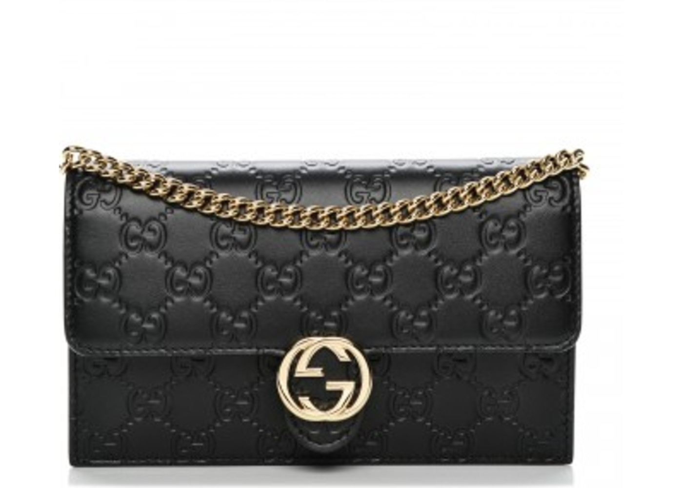 5e004e8f720 Gucci Interlocking Chain Wallet Crossbody GG Interlocking GG Black. GG  Interlocking GG Black