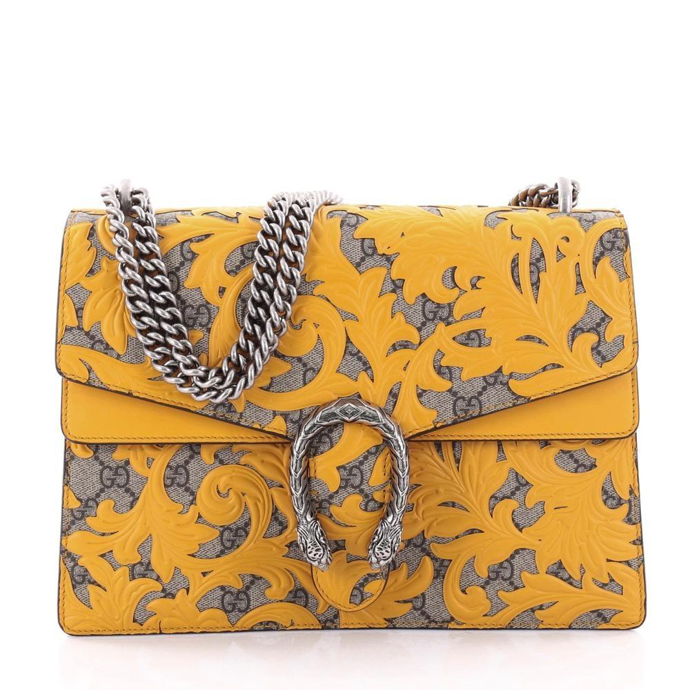 Gucci Dionysus Handbag Monogram GG Arabesque Medium Yellow/Brown
