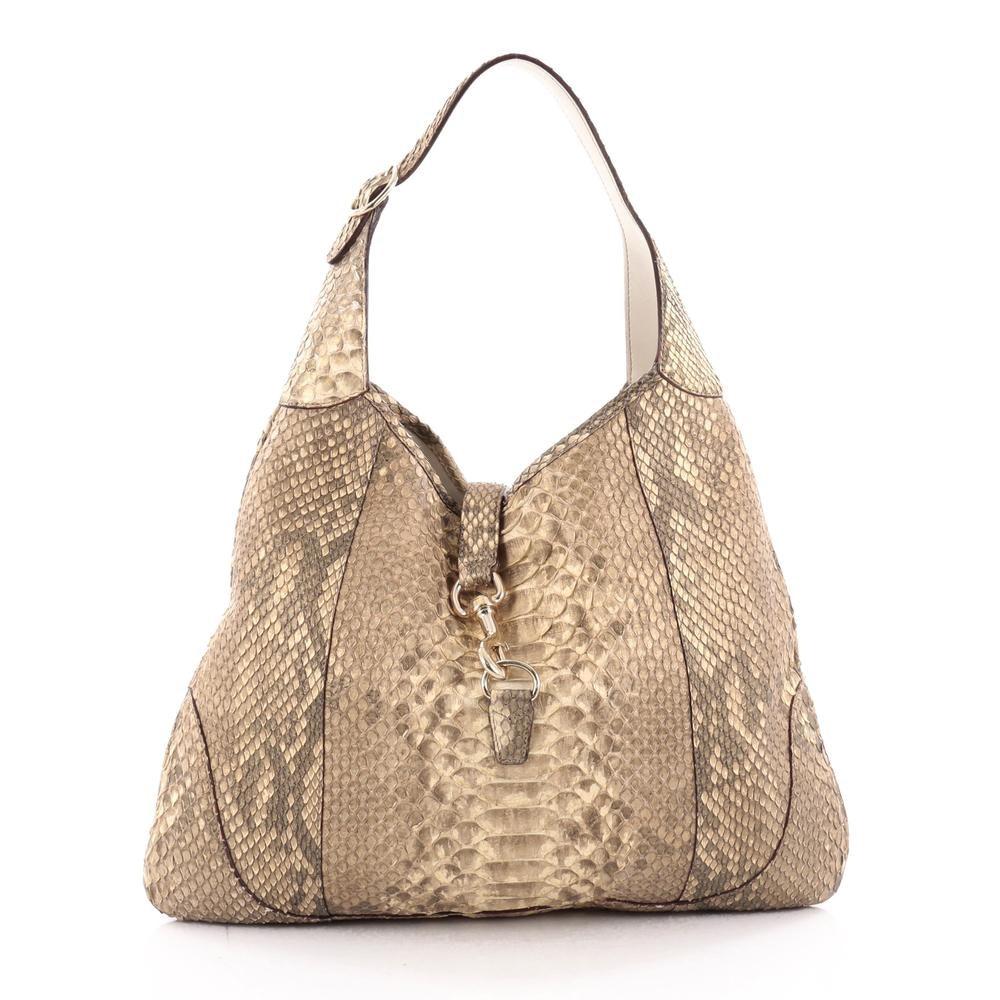 Gucci Jackie O Handbag GG Piston-Lock Closure Large Beige