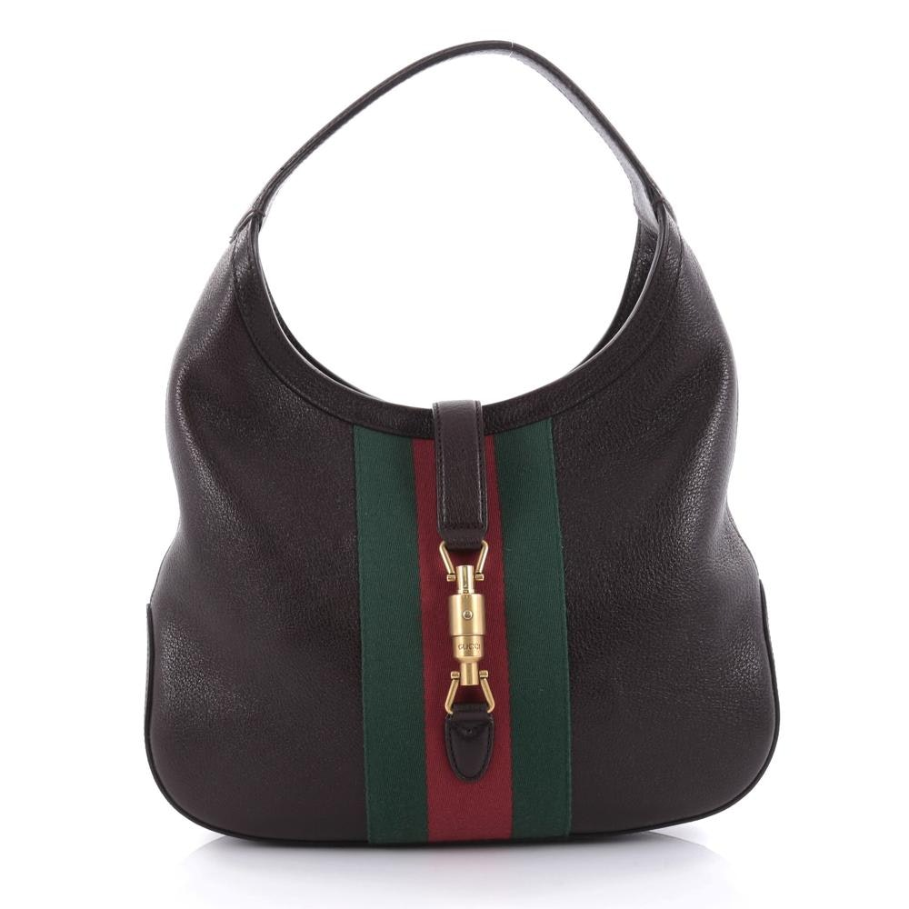 Gucci Jackie  Hobo GG Web Piston-Lock Strap Closure Dark Brown/Green/Red