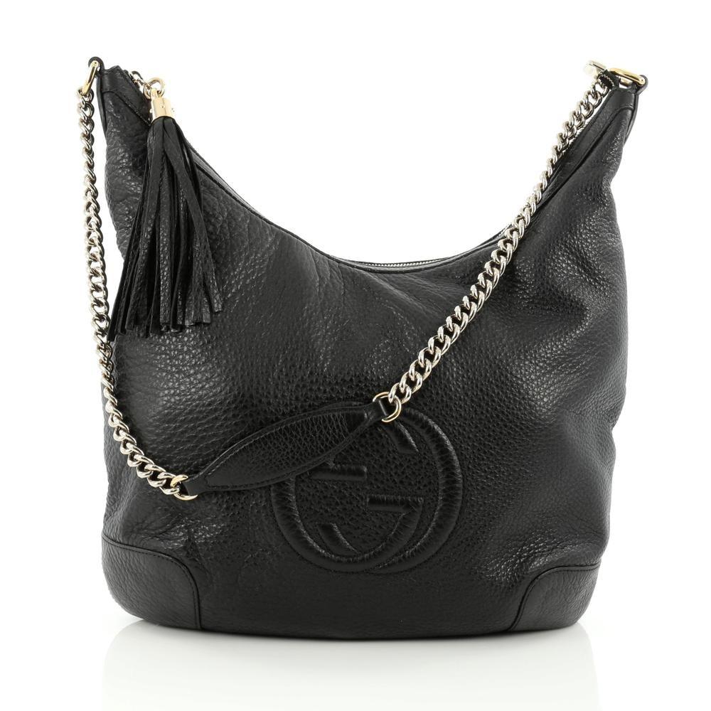 Gucci Soho Hobo GG Interlocking GG Logo Medium Black