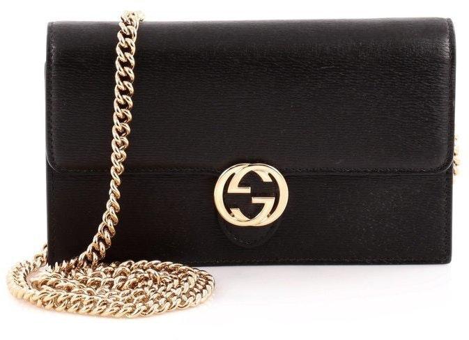 Gucci Interlocking Chain Wallet Crossbody  Black