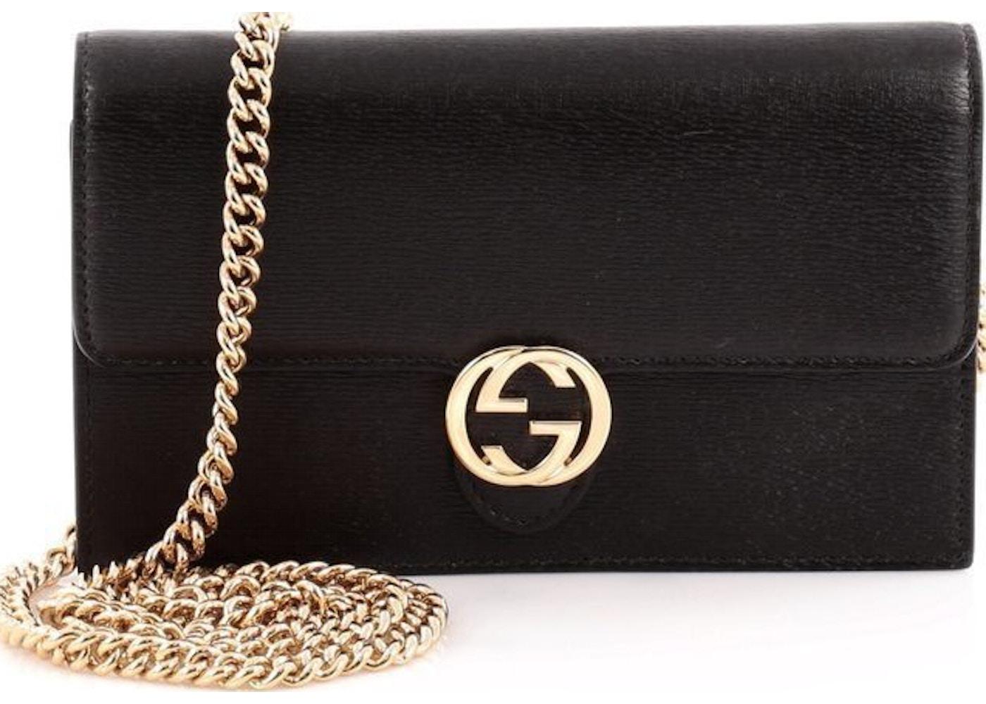 845385ff22a9 Gucci Interlocking Chain Wallet Crossbody Black. Black