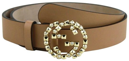 Gucci Interlocking G Belt Gold Studded Light Brown
