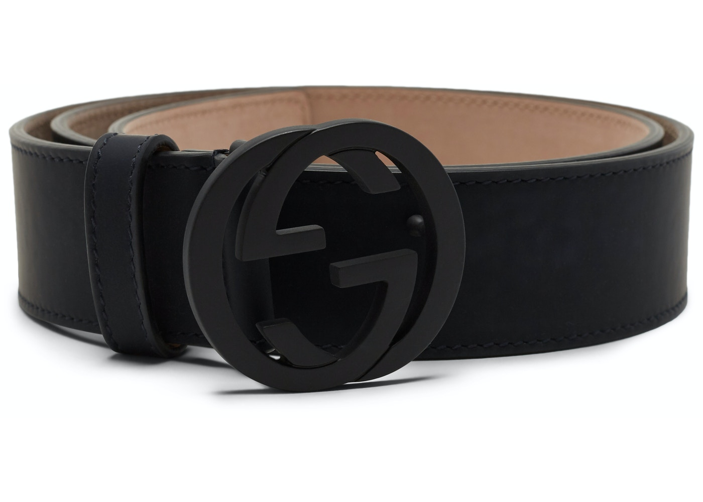 2ce751381 Gucci Leather Belt Interlocking G Matte Black Buckle Navy Blue. Interlocking  G Matte Black Buckle Navy Blue