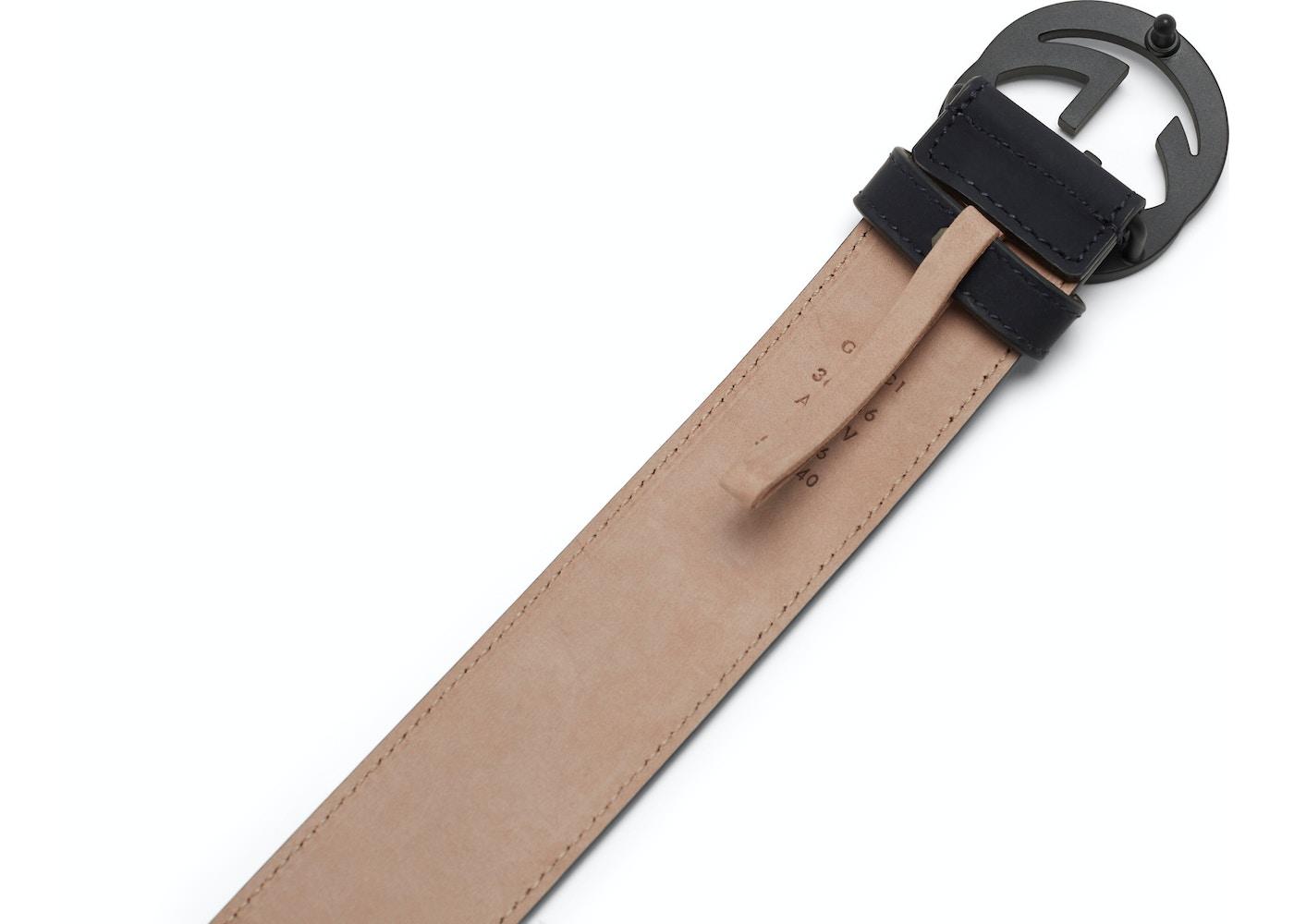 50f450823 Gucci Leather Belt Interlocking G Matte Black Buckle Navy Blue