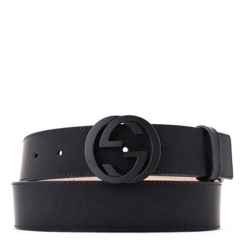 Gucci Leather Belt Interlocking G Matte Black Buckle Navy Blue