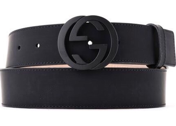 f700f87572 Gucci Leather Belt Interlocking G Matte Black Buckle Navy Blue