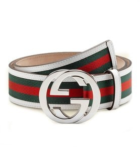 Gucci Interlocking G Belt Stripes White/Green/Red