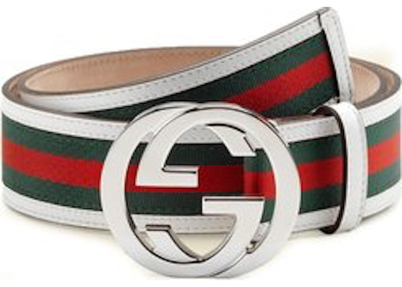 b0e51135e Gucci Interlocking G Belt Stripes White/Green/Red