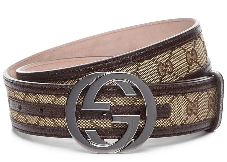 Gucci Interlocking G Belt Supreme GG Striped Leather Dark Brown/Beige