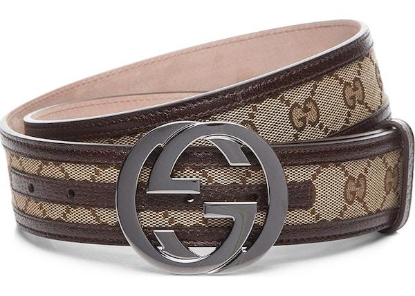 b693aa6ce766 Gucci Interlocking G Belt Supreme GG Striped Leather Dark Brown Beige