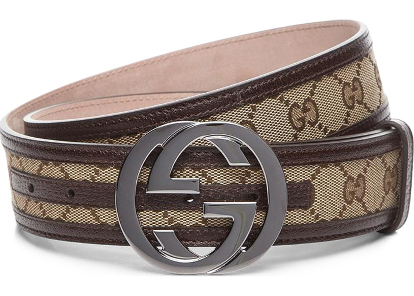 d52bfdf4e93 Gucci Interlocking G Belt Supreme GG Striped Leather Dark Brown ...