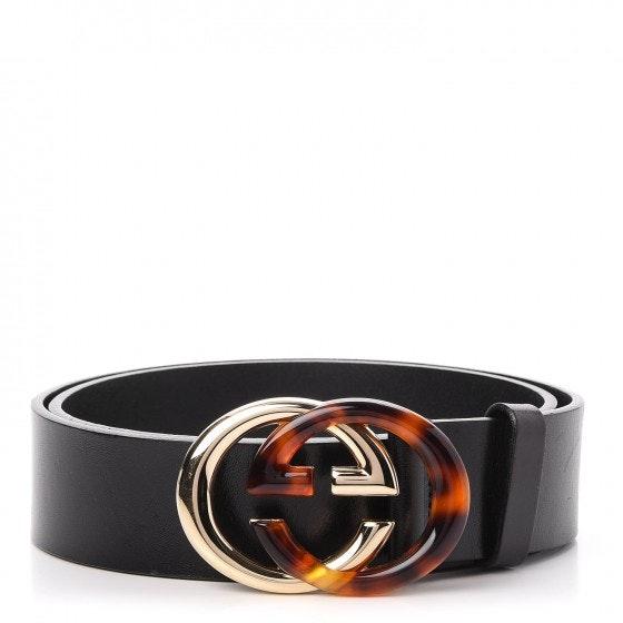 Gucci Interlocking G Belt Tortoise Gold Buckle Black