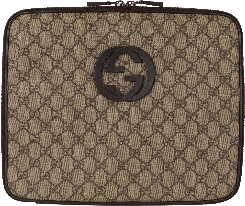 Gucci Laptop Case GG Supreme Brown