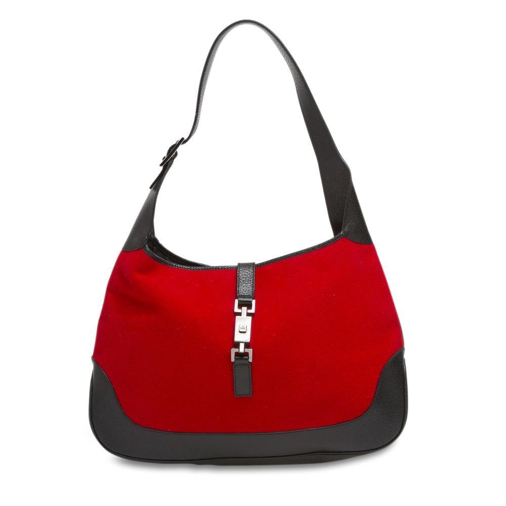Gucci Jackie Felt Handbag GG Metal Piston Strap Closure Red/Black