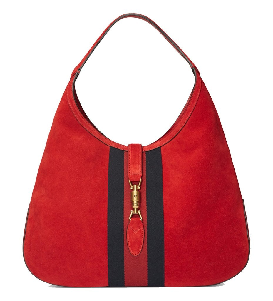 Gucci Jackie Hobo Bag Web Stripe With Pouch Red