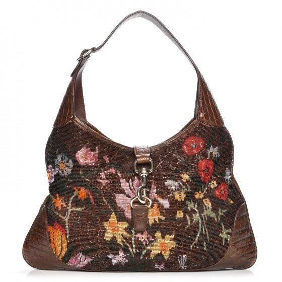 Gucci Jackie Hobo Bag Flora Brown