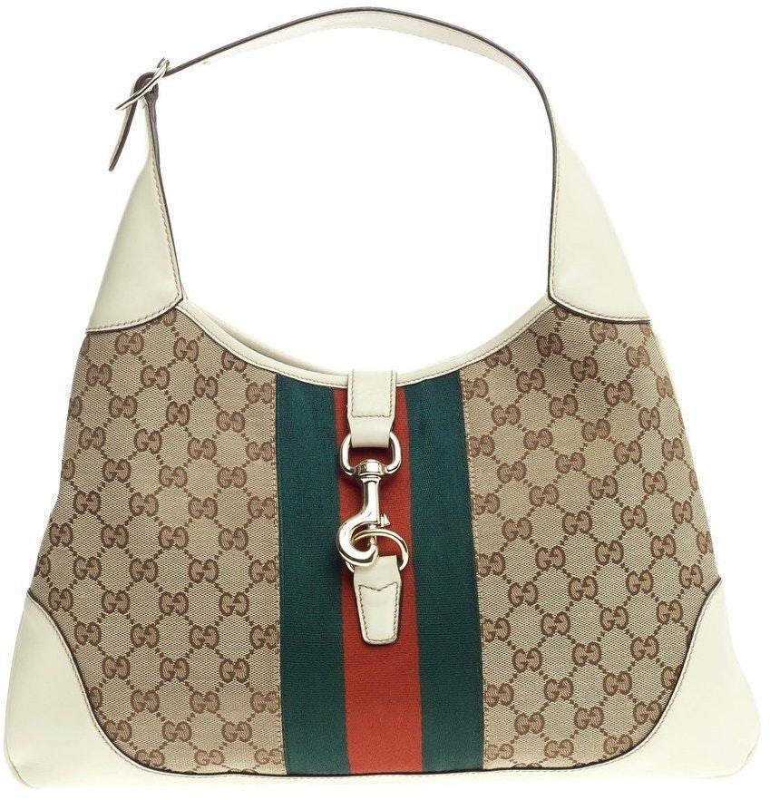 Gucci Jackie Hobo GG Vintage Web Medium Brown