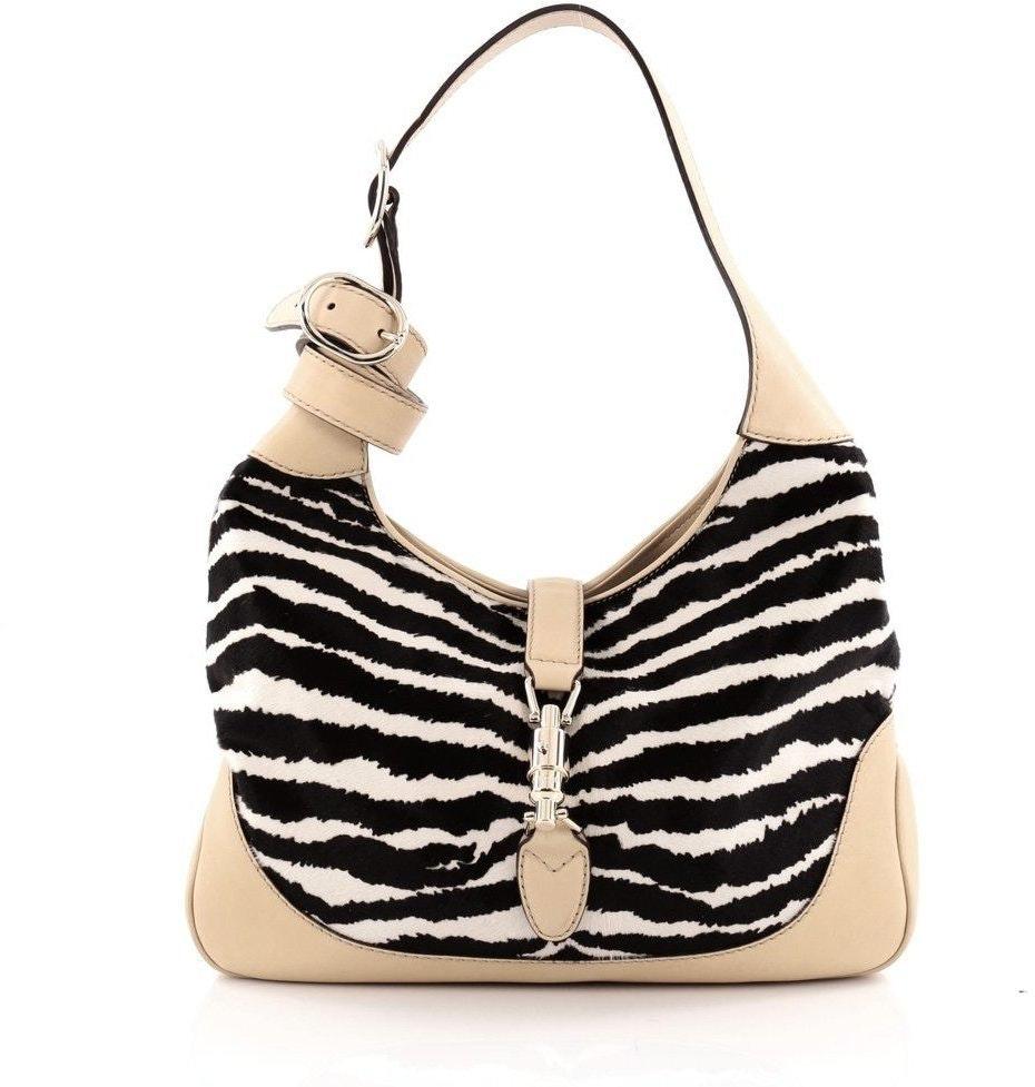 Gucci Jackie Hobo Zebra Medium Black/White/Beige