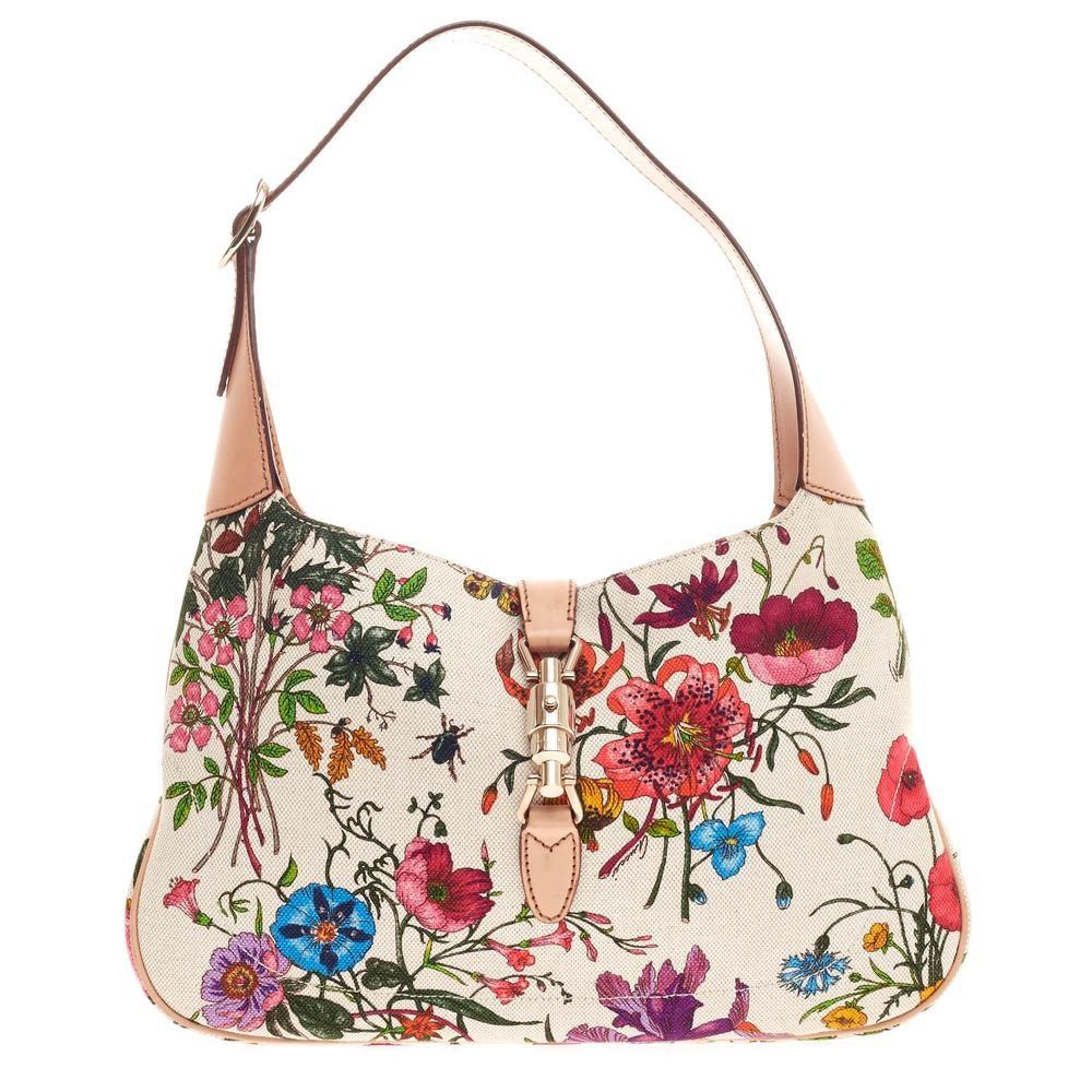 Gucci Jackie O Handbag GG Piston-Lock Closure Small White/Green/Pink