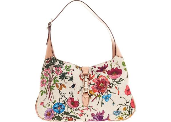 6764db8d0 Gucci Jackie O Handbag GG Piston-Lock Closure Small White/Green/Pink
