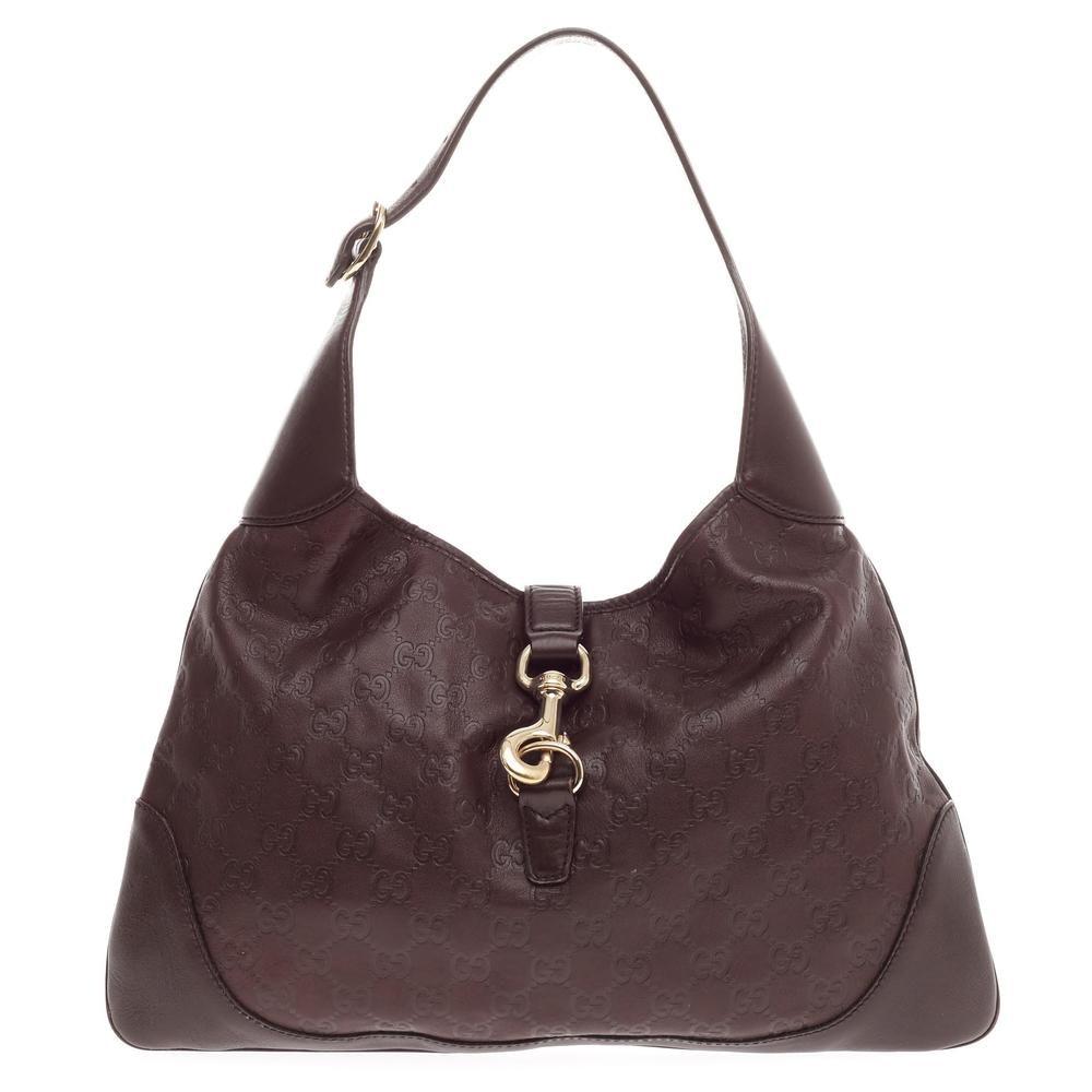 Gucci Jackie O Handbag Guccissima Piston-Lock Closure Medium Dark Brown