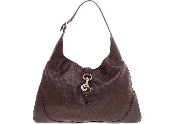 fdc44c808 Gucci Jackie O Handbag Guccissima Piston-Lock Closure Medium Dark Brown