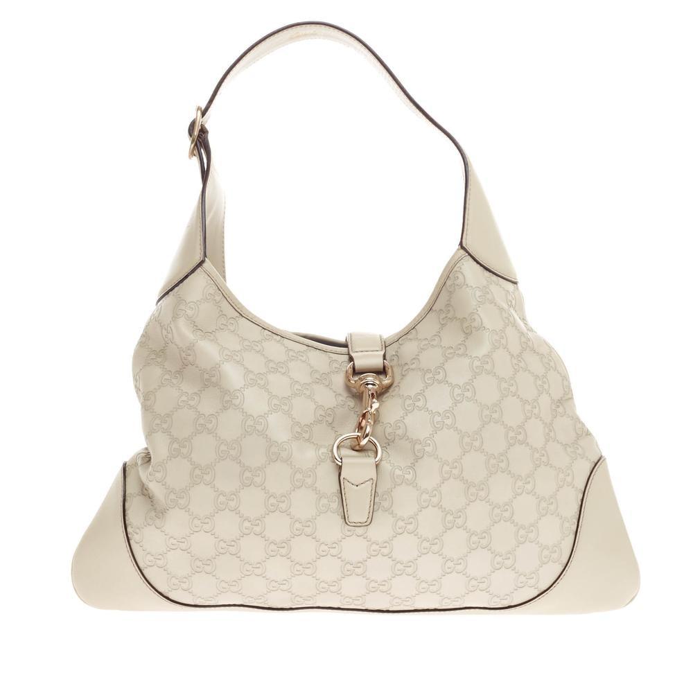 Gucci Jackie O Handbag Guccissima Piston-Lock Closure Medium White