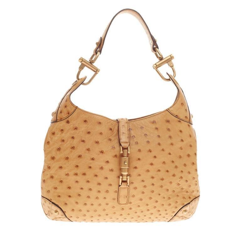 Gucci Jackie O Handbag GG Piston-Lock Closure Medium Sandy Tan