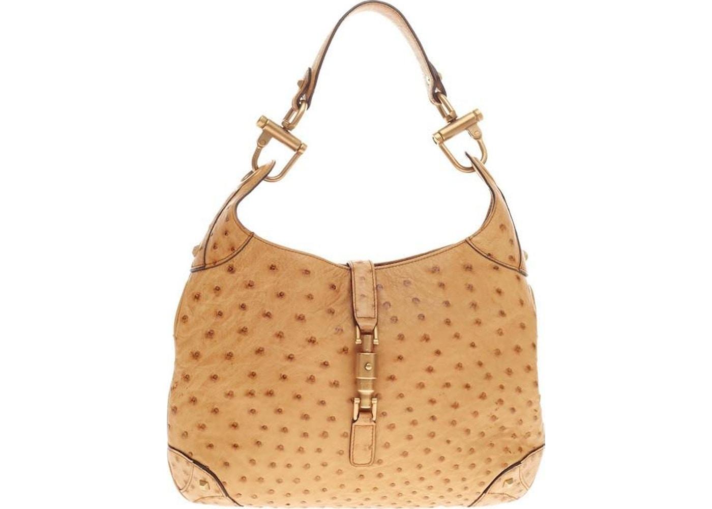 644c94f27 Gucci Jackie O Handbag GG Piston-Lock Closure Medium Sandy Tan