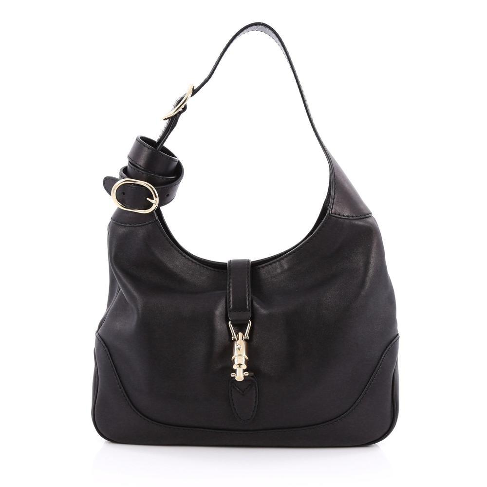 Gucci Jackie Shoulder Bag GG Medium Black