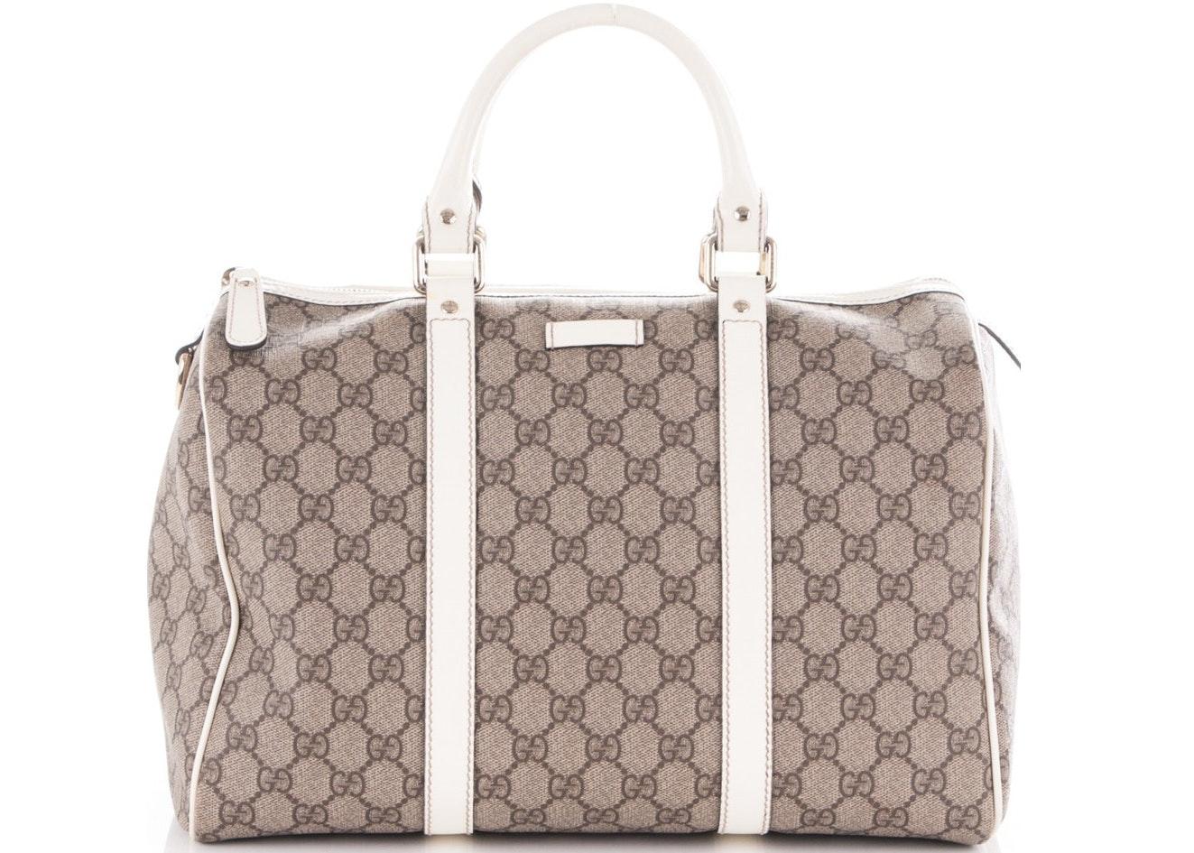 Gucci Joy Boston Bag Satchel GG Plus Medium White