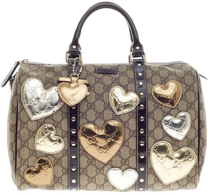 Gucci Joy Boston Bag Satchel GG Supreme Hearts Medium Brown/Gold/Silver