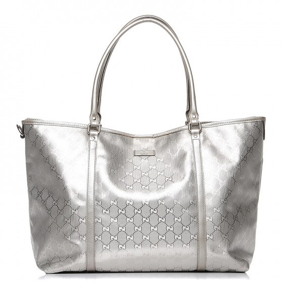 Gucci Joy Tote Monogram GG Metallic Large Silver