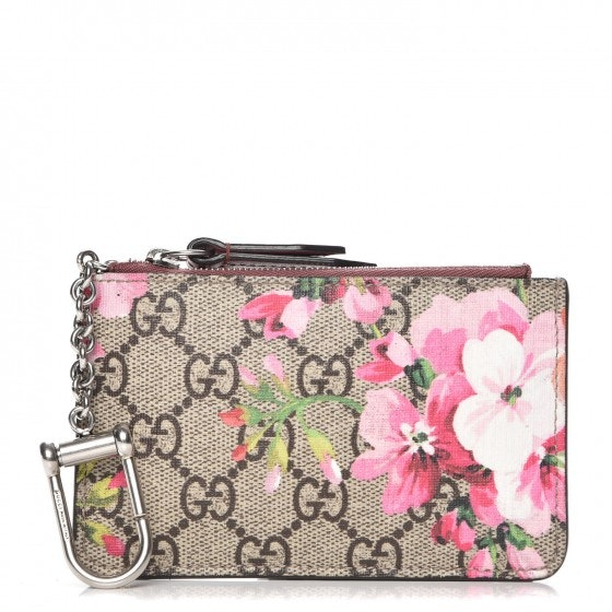 Gucci D Ring Key Case Blooms GG Pink/Coral/Green/Brown