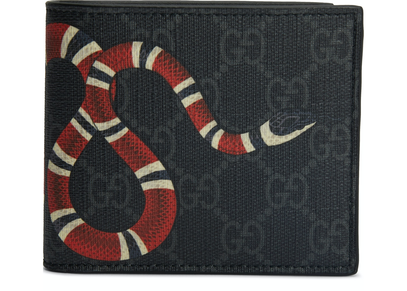0b93334031d4 Gucci Kingsnake Wallet GG Supreme (8 Card Slots) Black