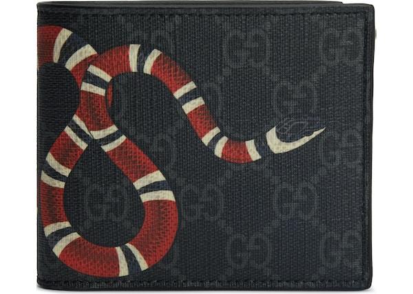 1e1497bb8d8 Gucci Kingsnake Wallet Monogram Supreme GG (8 Card Slots) Black