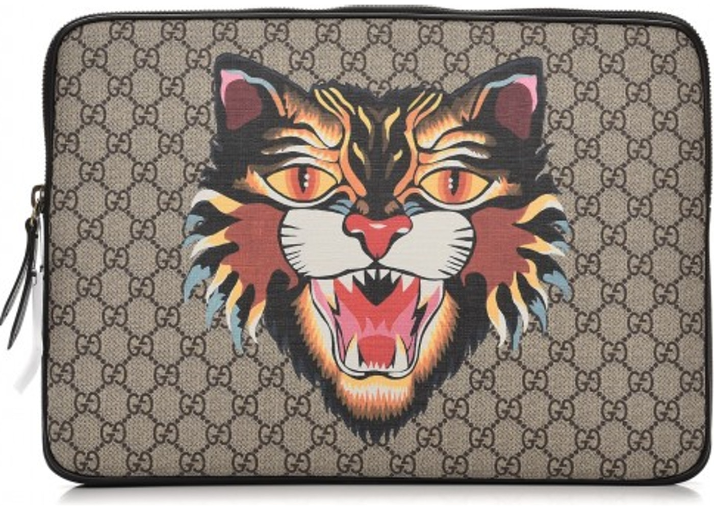 88d1a9c55b26 Gucci Laptop Case Monogram GG Supreme Angry Cat Print Beige ...