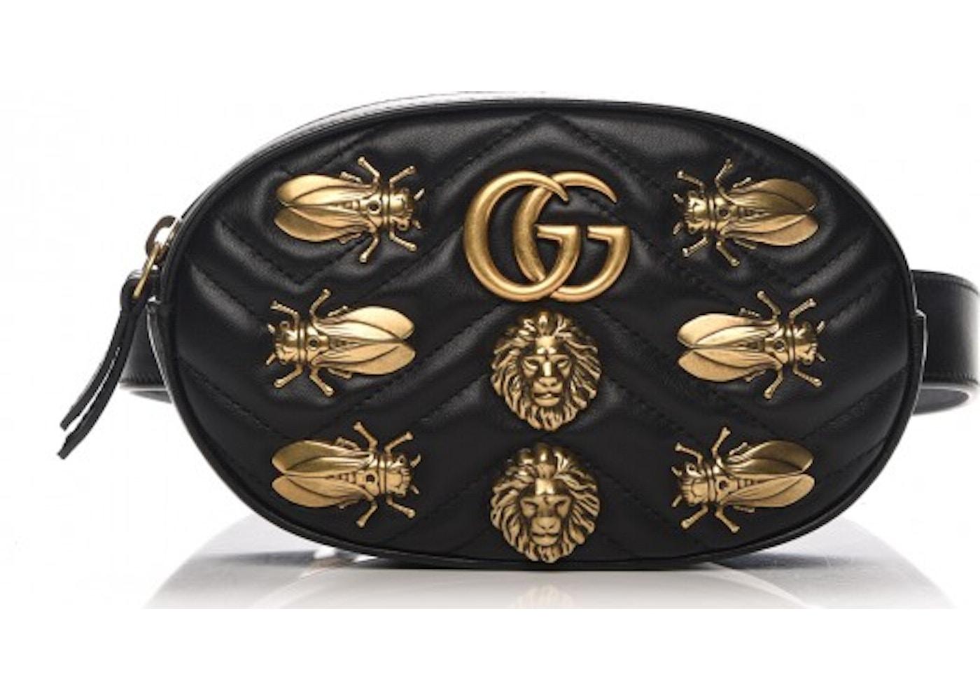 32af47ff7e7 Gucci Animal Studs Marmont Belt 85 Matelasse Black. Matelasse Black