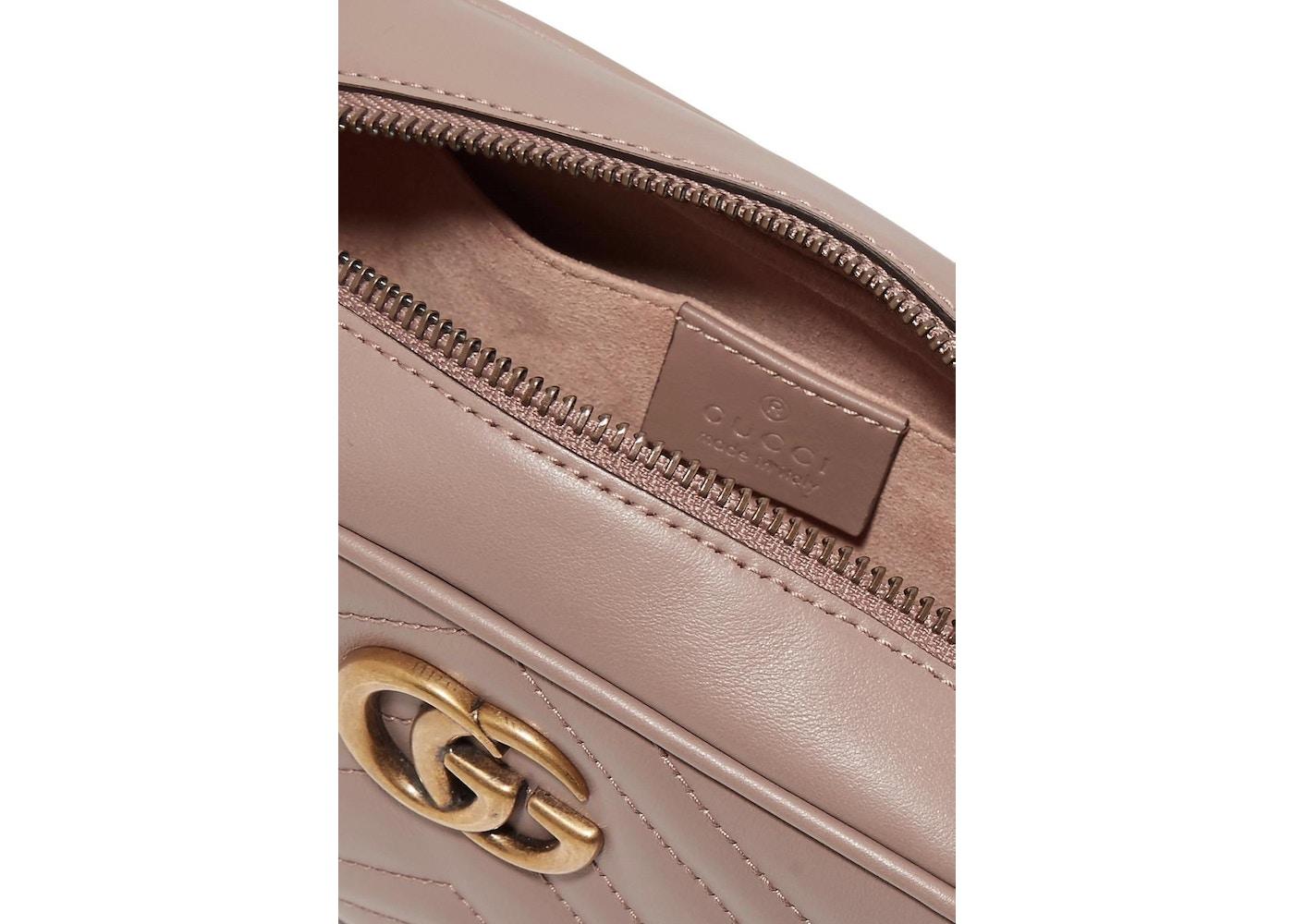 7020d7f68c43a9 Gucci Marmont Camera Bag Matelasse Mini Porcelain Rose