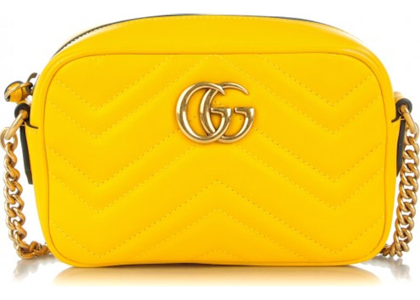 c74de0f63840 Gucci Marmont Camera Bag Matelasse Mini Yellow
