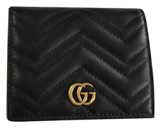 Gucci Marmont Card Case Matelasse Chevron Black