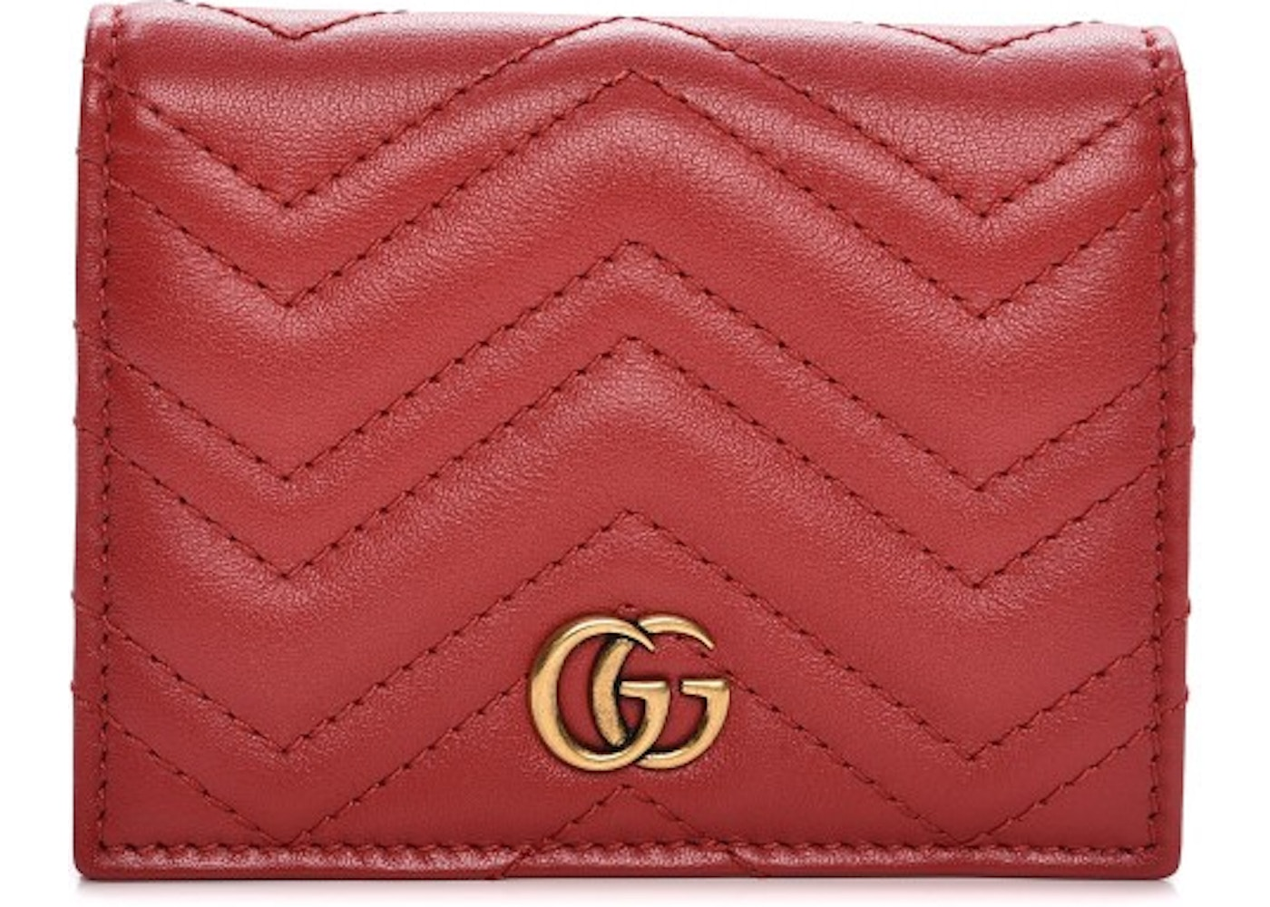 8a852f9f07e1a Gucci Card Case Marmont Matelasse GG Chevron Quilted Hibiscus Red. Matelasse  GG Chevron Quilted Hibiscus Red